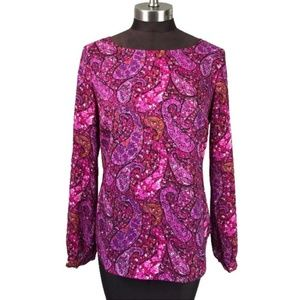 Ann Taylor Purple Pink Paisley Long Sleeve Blouse